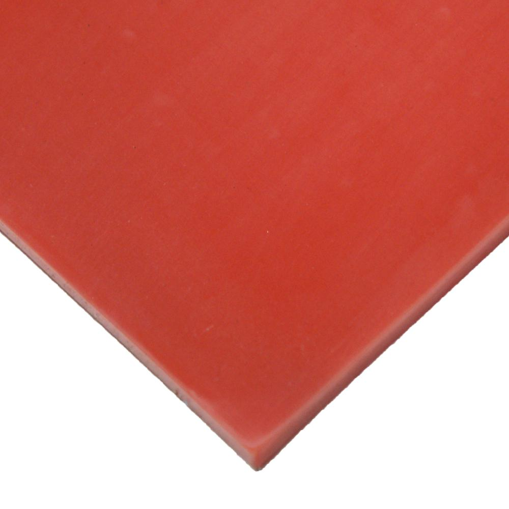 Silicone 1/4 in. x 24 in. x 12 in. Red/Orange Commercial Grade 60A Rubber Sheet