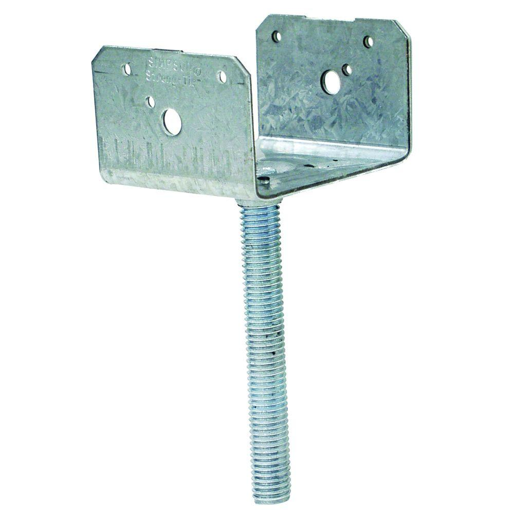 4 in. x 4 in. 12-Gauge Elevated Post Base with Threaded Rod
