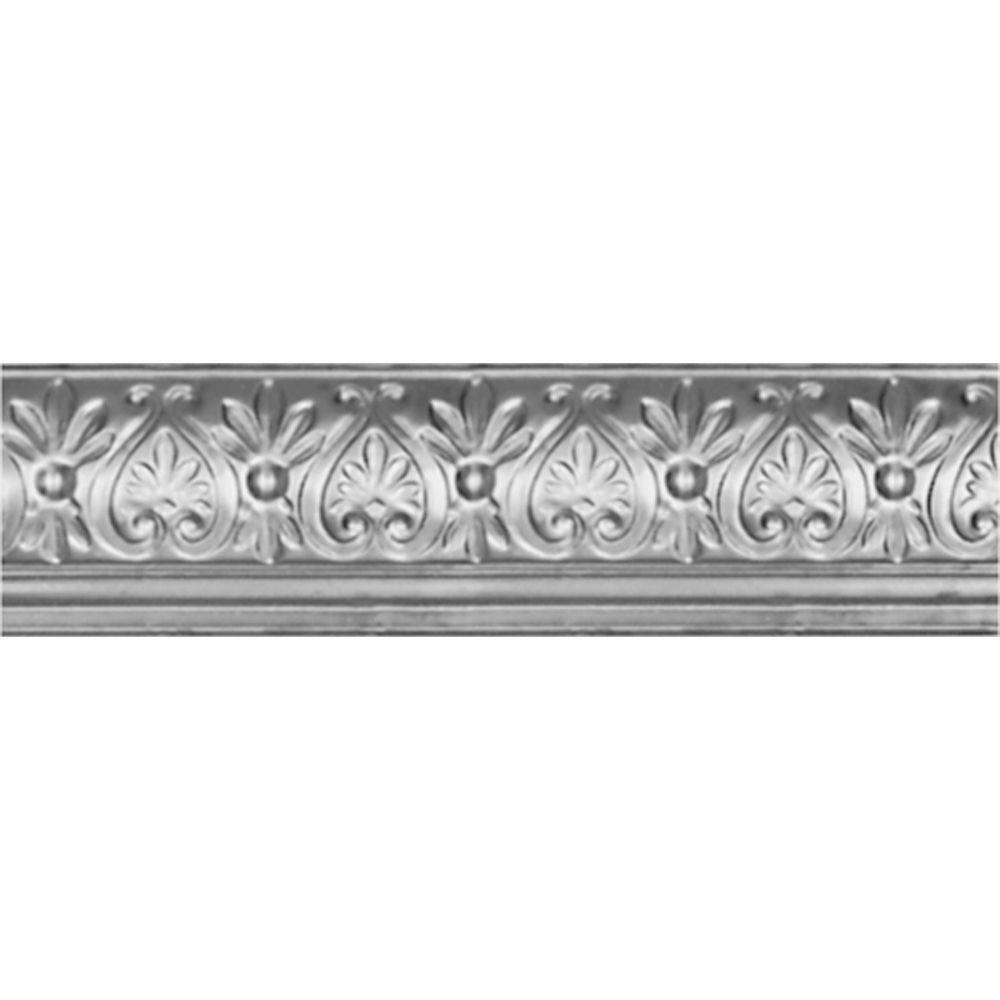 6-5/8 in. x 4 ft. x 6-1/4 in. Nail-up/Direct Application Tin Ceiling Cornice in Bare Steel (6-Pack)