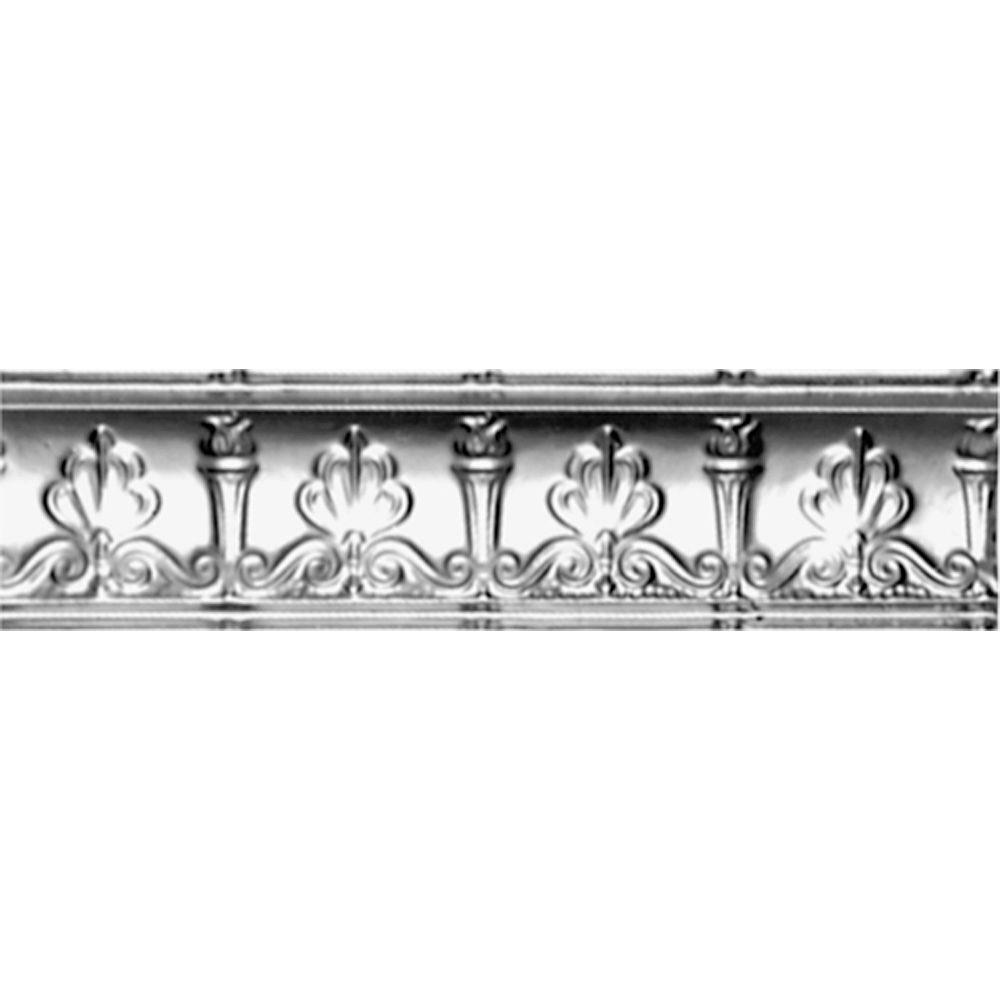 4 in. x 4 ft. x 4 in. Clear Lacquer Steel Nail-up/Direct Application Tin Ceiling Cornice (6-Pack)