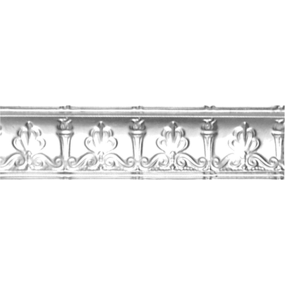 4 in. x 4 ft. x 4 in. Brite Chrome Nail-up/Direct Application Tin Ceiling Cornice (6-Pack)