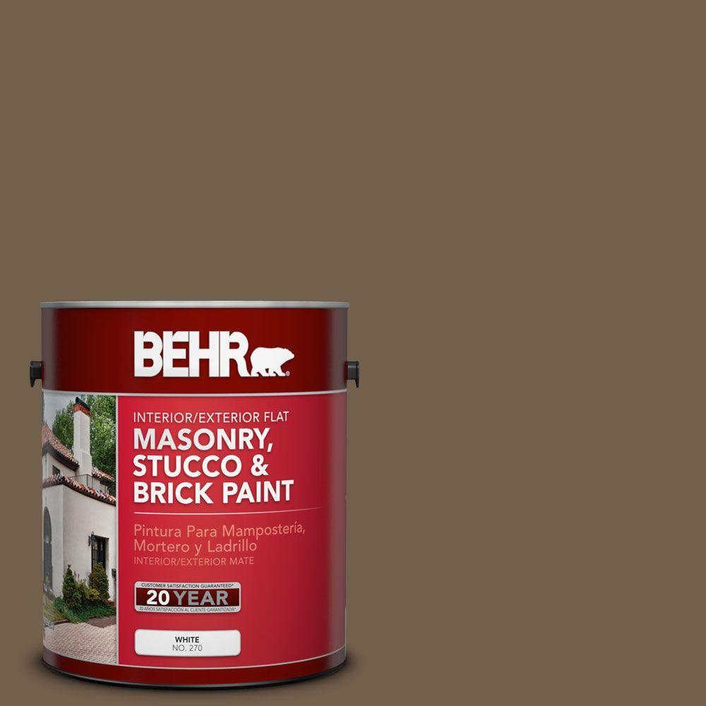 1-gal. #MS-46 Chestnut Brown Flat Interior/Exterior Masonry, Stucco and Brick Paint