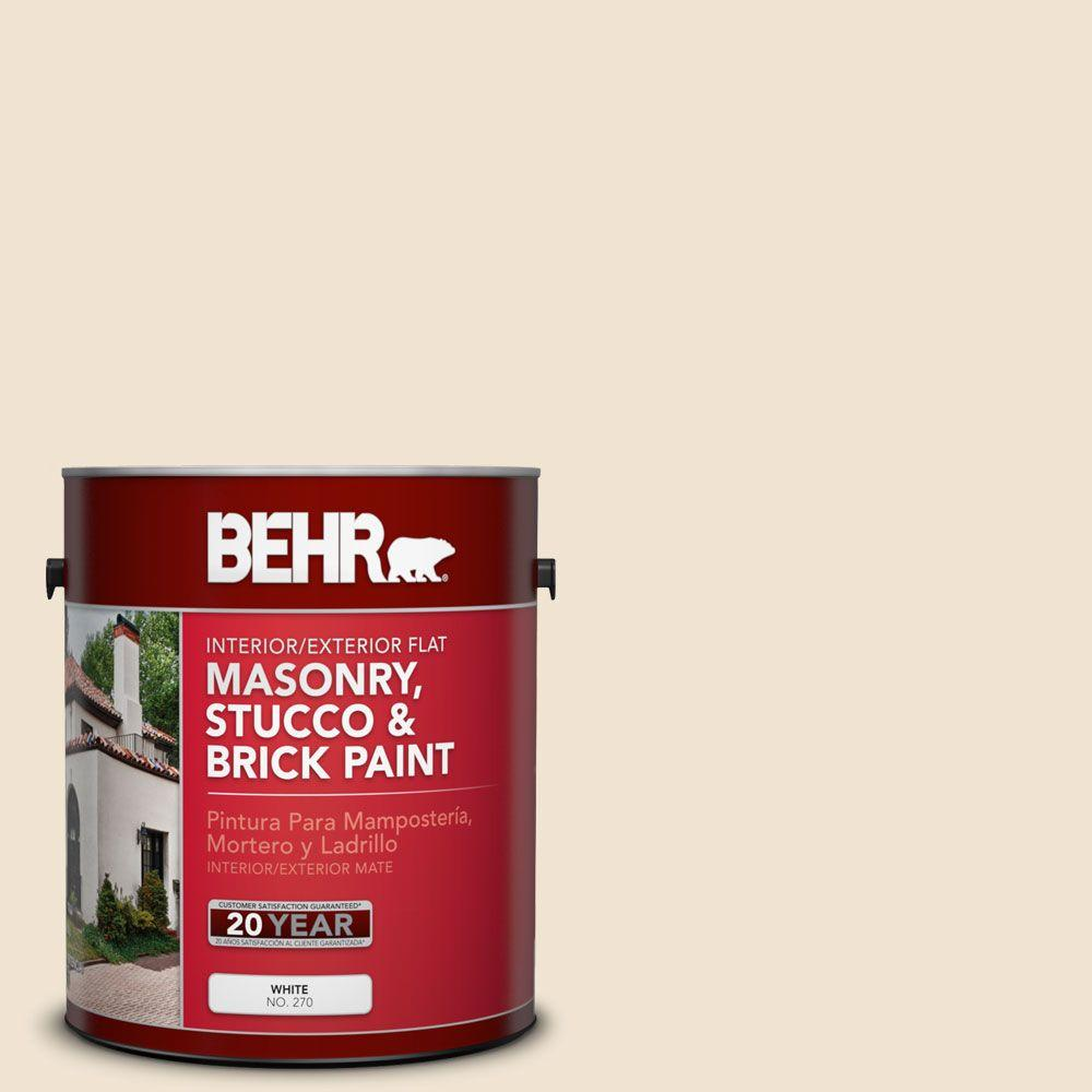 1-gal. #MS-25 Viejo White Flat Interior/Exterior Masonry, Stucco and Brick Paint